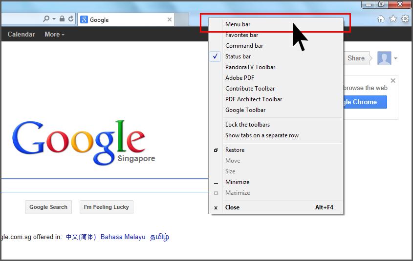 Internet Explorer 10 Show Menu Bar Simple Stuffs